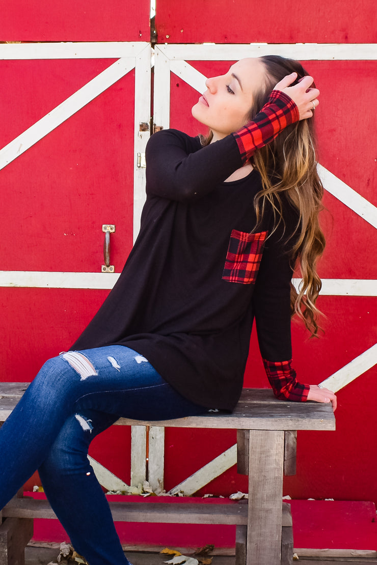 Where Buffalo Roam - Long Sleeve Top - Red/Black Detail Sleeve and Pocket