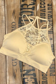 Mocha - High Neck Lace Bralette - Taupe