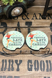 Running Late Is My Cardio - Car Coaster - Set of 2