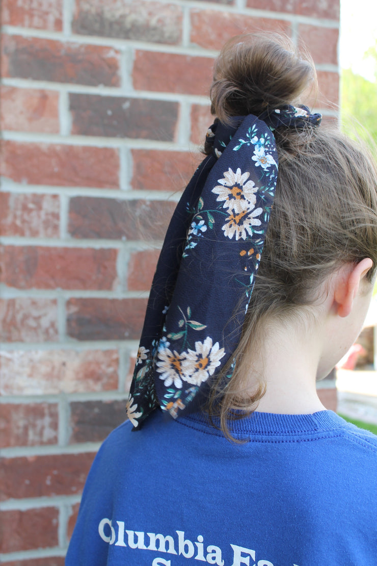 Houston - Hair Scarf Scrunchie - Navy Floral