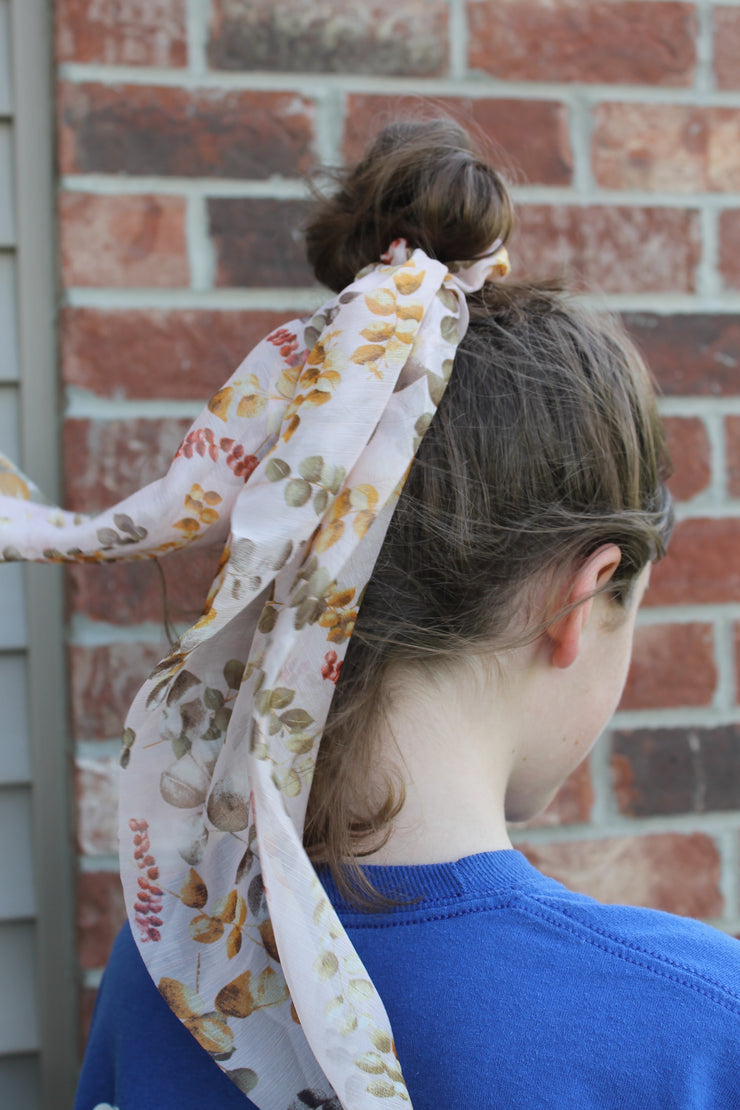 Hair Scarf Scrunchie - Pale Pink Fall Vines