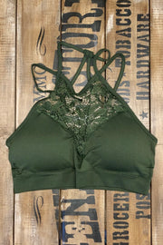 Platoon - High Neck Lace Bralette - Army Green