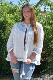 Windy Days - Long Sleeve Tie Top - White - Sizes XL-3X Only!