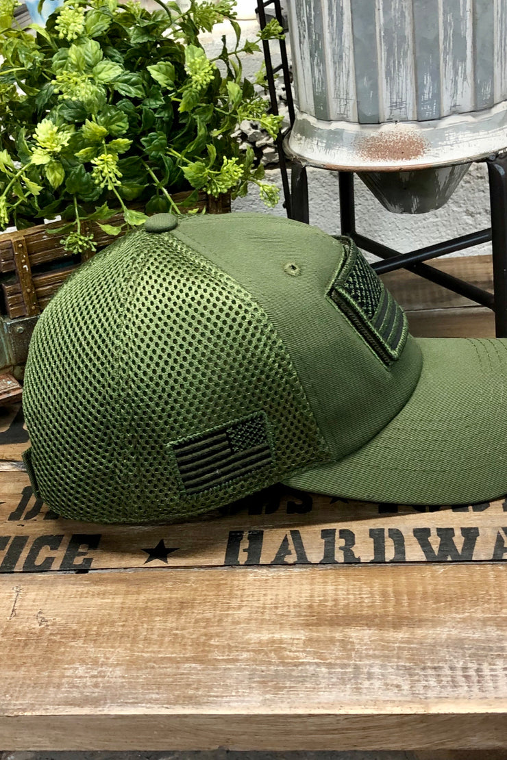 Hat - US Flag - Micro Mesh - Army Green Solid - $12 S4S Donation