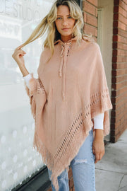 Livin' Easy - Blush Pink Lace Up Poncho w/ Hood