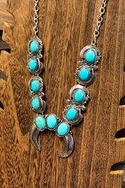 Necklace & Earrings Set - Shield of our Fathers - Turquoise & Silver