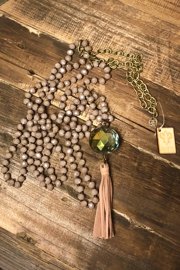 Necklace - Double Strand Matte Blush Tassel w/ Crystal Ball