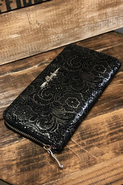 Lace Locomotive - Silver Paisley on Black