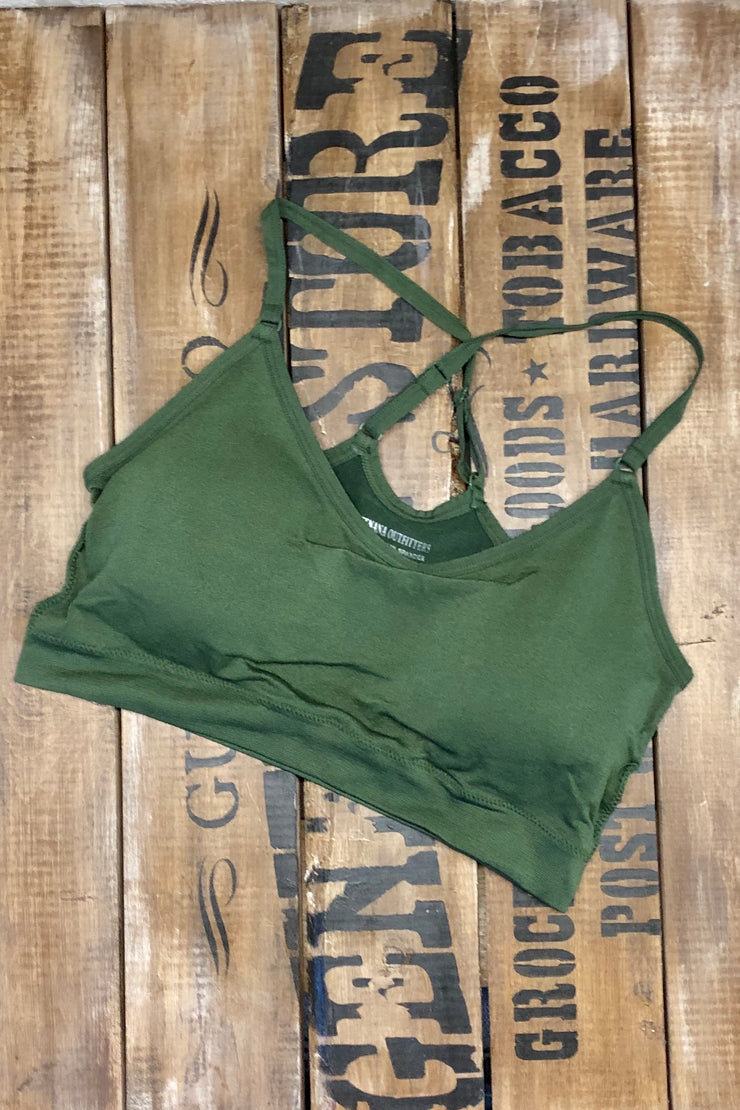 Army of One - Cross Back Half Cami Bralette - Army Green