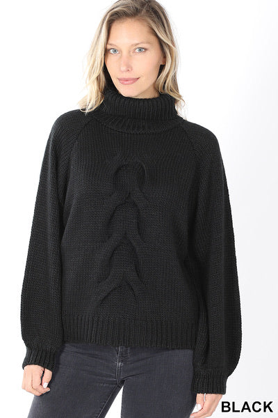 Call Me A Dreamer - Braided Front Knit Turtleneck Sweater - Black