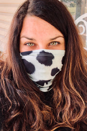 Face Shield - Cowhide Black and White Print