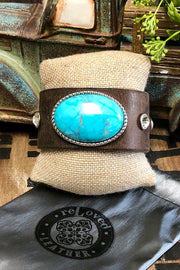 Tombstone - Leather Cuff Bracelet - Real Turquoise