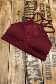 Wine About It - High Neck Lace Bralette - Dark Burgundy