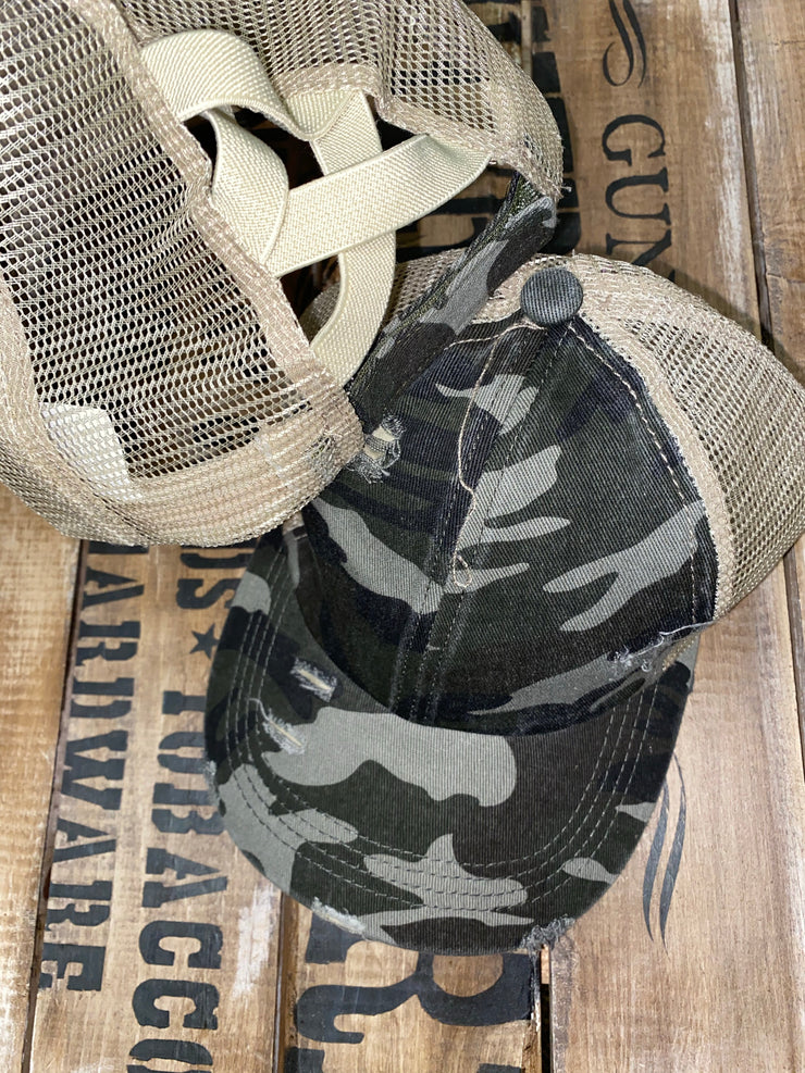 Hat - Dark Green And Brown Camo Distressed