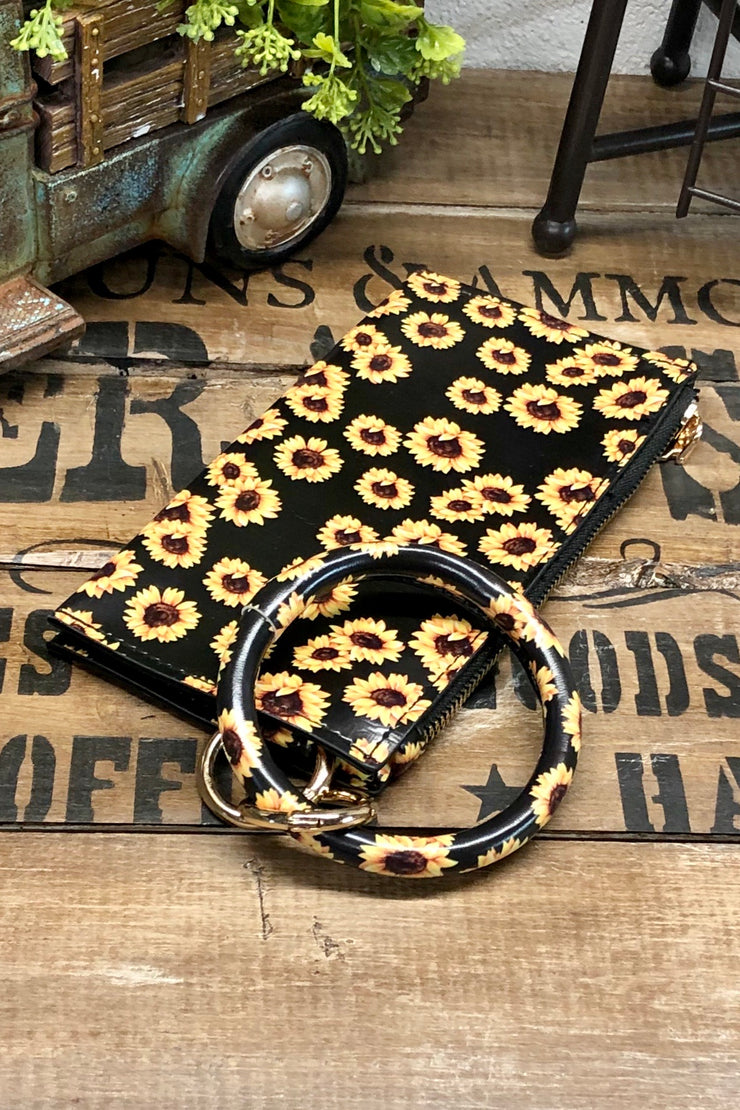 Sunflower Sunset - Wristlet Clutch w/ Bangle - Sunflowers on Black