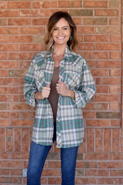 Salt of the Earth - Mint, Gray, White Plaid - Long Sleeve Shirt