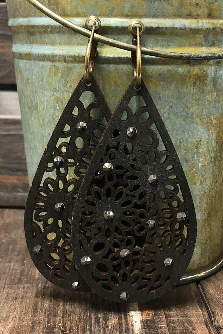Earrings - Black Wood Teardrop Lace w/ Black Crystals