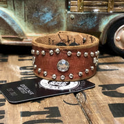 Studded in Grace - Leather Cuff Bracelet