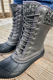 Shades of Grey - Duck Boots w/ Sweater Cuff - Charcoal Gray