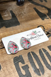 Earrings - Consider Me Gone - Paisley Floral Teardrops