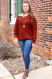 Simple - Long Sleeve V-Neck Off Shoulder Sweater - Dark Rust
