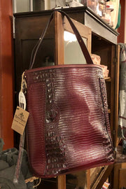 Purse - Between the Devil and Me - Croc Pattern Bucket Hobo - Burgundy