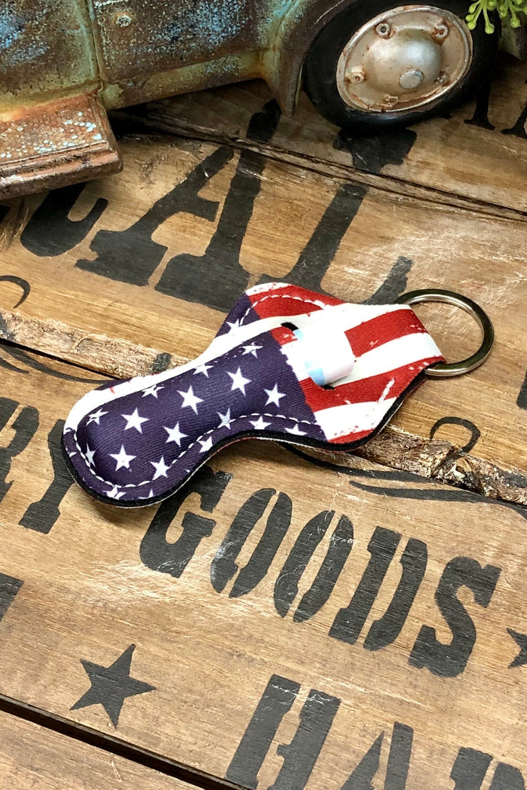 Home of the Brave - Lipstick/Lip Balm Holder - American Flag