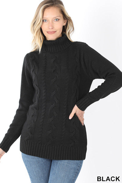 Blue on Black - Chunky Cable Knit Sweater - Black