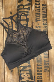 Iron Maiden - High Neck Lace Bralette - Ash Grey