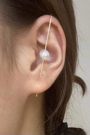 Ear Climber - Solid Bar w/ Pearl - Gold