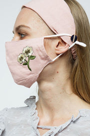 Carbon Insert Face Mask w/ Headband - Blush Pink w/ Wildflower Embroidery