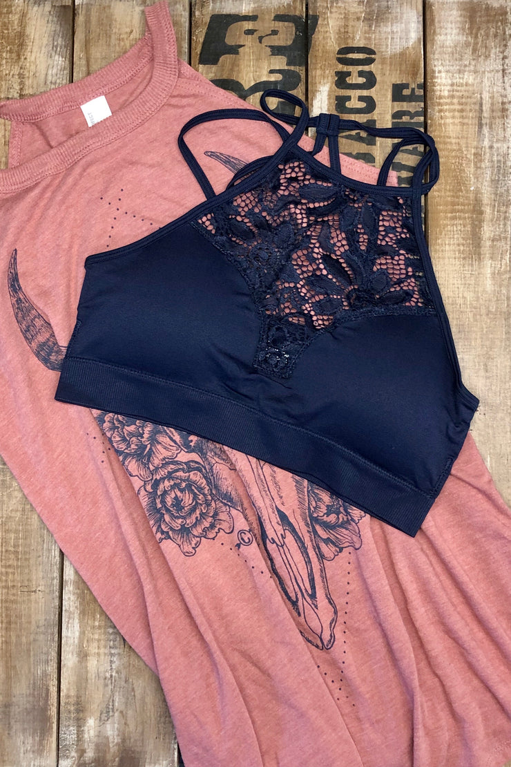 At the USO - High Neck Lace Bralette - Navy Blue
