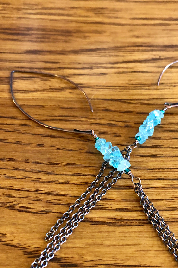 Earrings - Copper Drop Earrings - Apatite