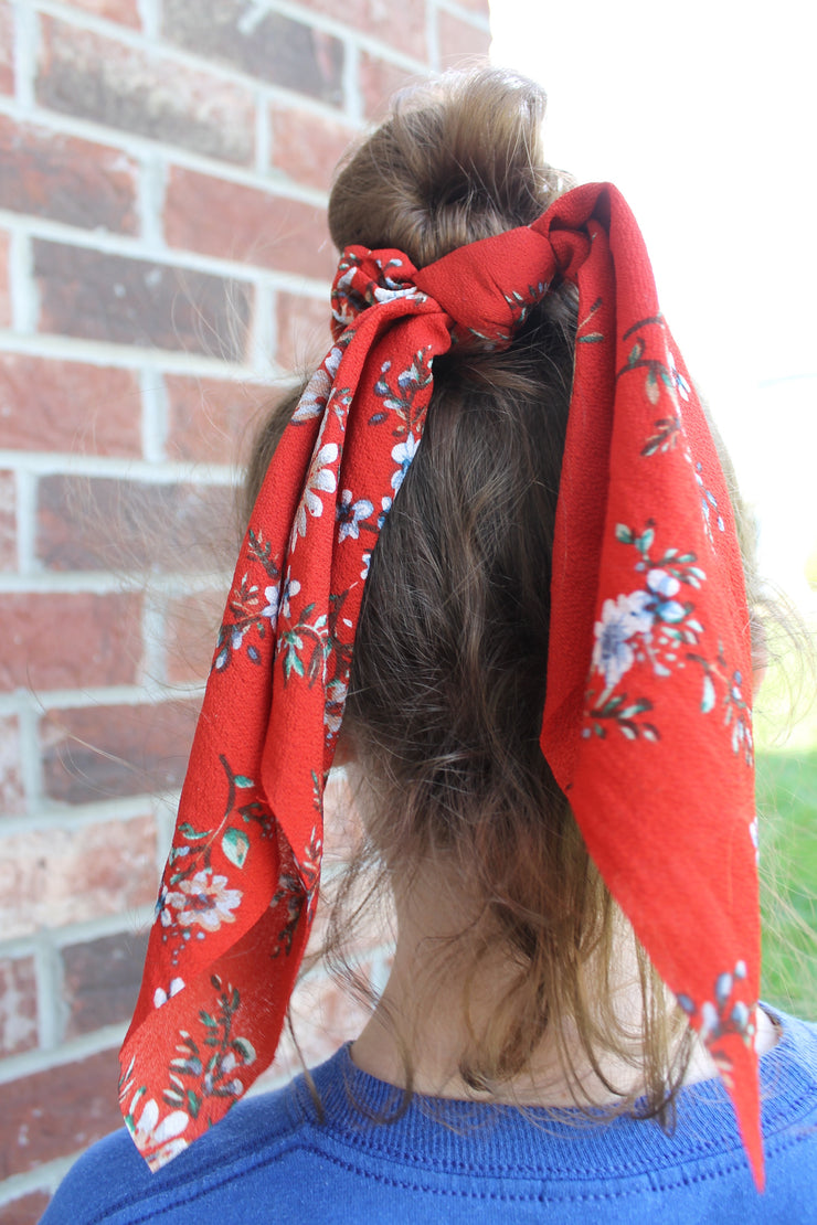 Savannah - Hair Scarf Scrunchie - Rust Red Floral