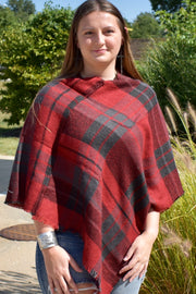 Fire and Ashes - Poncho - Gray and Red