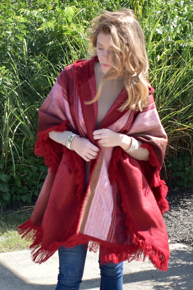 Size Me Up - Alpaca Poncho - Red