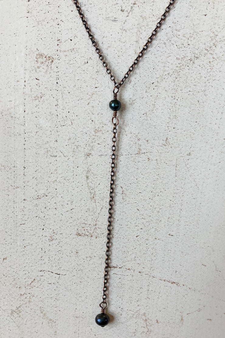 Necklace - Copper -  Deep Iris Green - Tranquility Y Drop - 16 to 18""