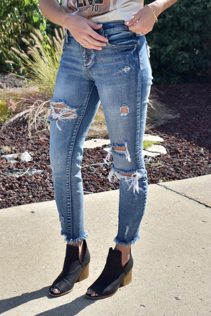 Haggard - Mid-Rise Skinny Jeans - High Distressed
