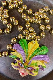 Feathered Mask Lady - Mardi Gras Necklace