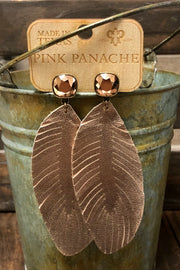 Earrings - Textured Rose Gold Leather w/ 10mm Iridescent Stud