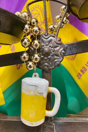 Frothy Beer Mug - Mardi Gras Necklace