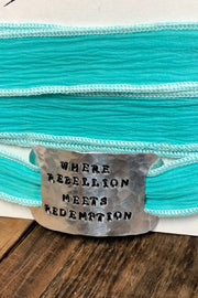 Bracelet - Silk Wrap - Where Rebellion Meets Redemption - Teal/Blue