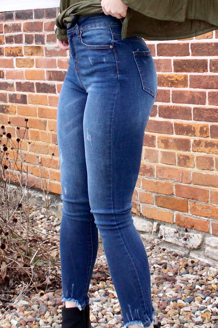 Blue Jean Baby - High-Rise Skinny Jeans - Dark Wash