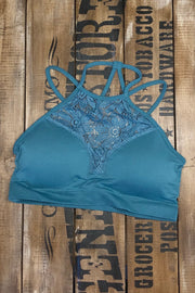 Tropic - High Neck Lace Bralette - Dusty Teal