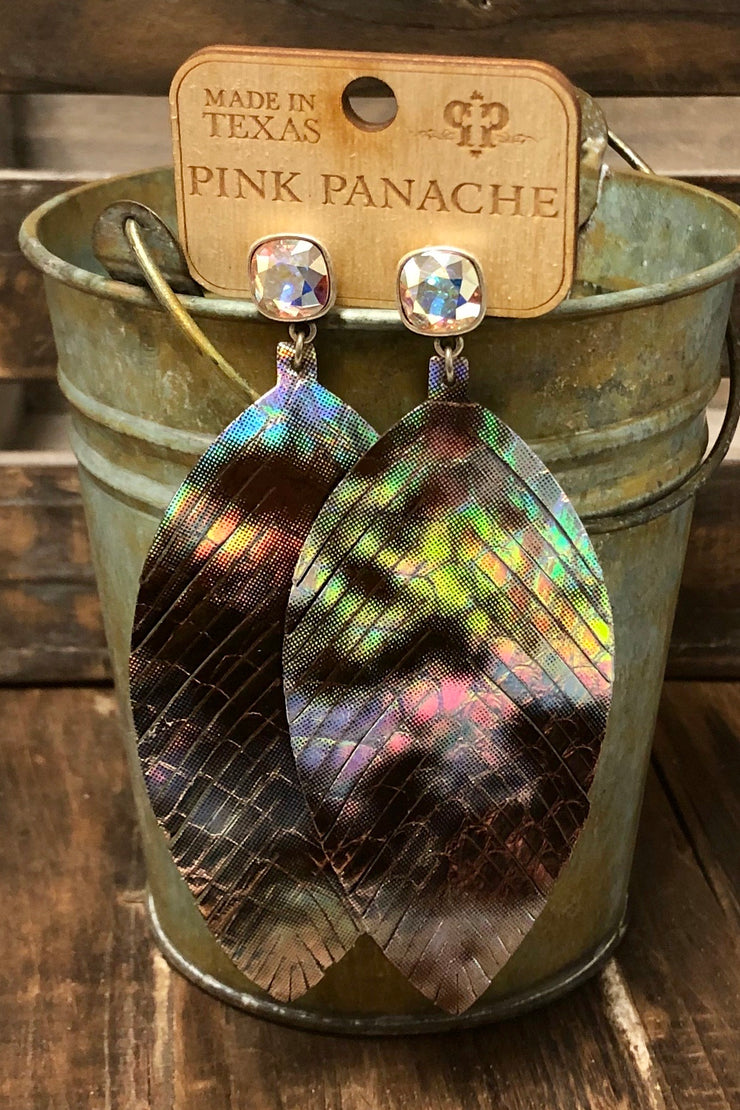 Earrings - Textured Metallic Leather w/ 10mm Iridescent Stud