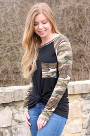 On the Hunt - Long Sleeve Top - Black w/ Camo Sleeves