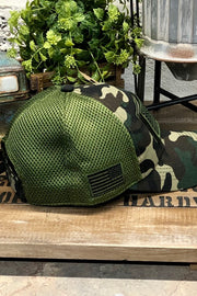 Hat - US Flag - Micro Mesh - Camo - $12 S4S Donation