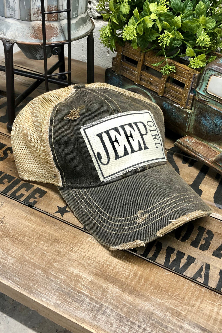 Hat - Jeep Girl - Vintage Distressed Trucker Hat