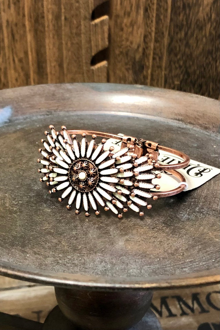 Bracelet - Rays of Copper & Ivory - Copper Open Cuff
