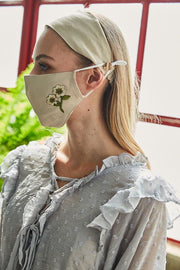 Carbon Insert Face Mask w/ Headband - Linen w/ Wildflower Embroidery